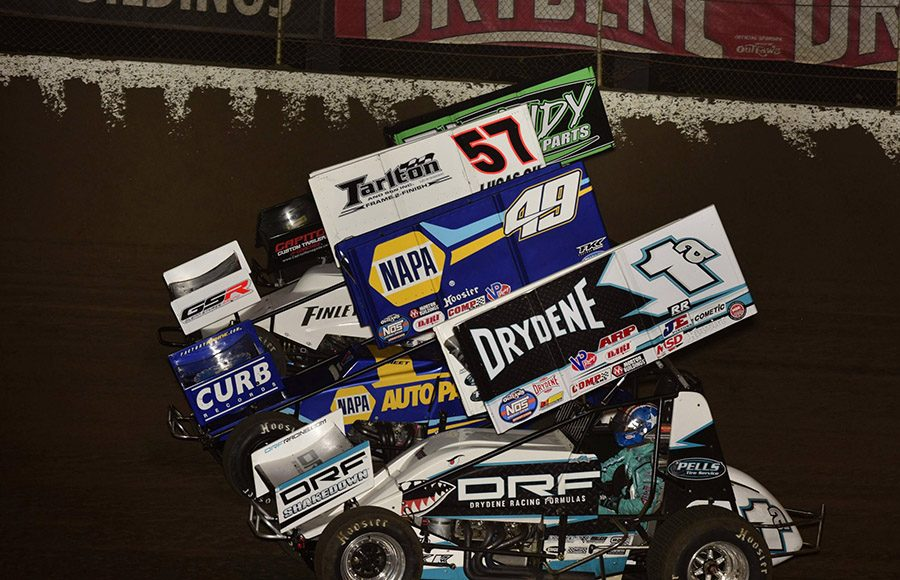 The World of Outlaws NOS Energy Drink Sprint Car Series field prepares to go racing on Friday night at Federated Auto Parts Raceway at I-55. (Mark Funderburk Photo)