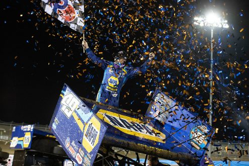 Brad Sweet celebrates after winning Friday's World of Outlaws NOS Energy Drink Sprint Car Series feature at Federated Auto Parts Raceway at I-55. (Brad Plant Photo)