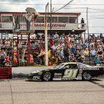 Ty Majeski crosses the finish line to win the Rattler 250 Sunday at South Alabama Speedway. (Jason Reasin Photo)