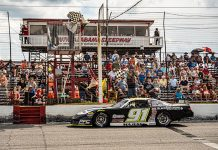 Ty Majeski crosses the finish line to win the Rattler 250 Sunday at South Alabama Speedway. (Jason Reasin Photo)