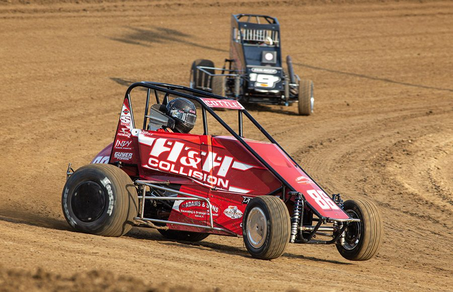 Shane Cottle (88) slides through a corner during POWRi Lucas Oil National and West Midget League hot laps during Saturday's event at Valley Speedway. (Russell Moore Photo)