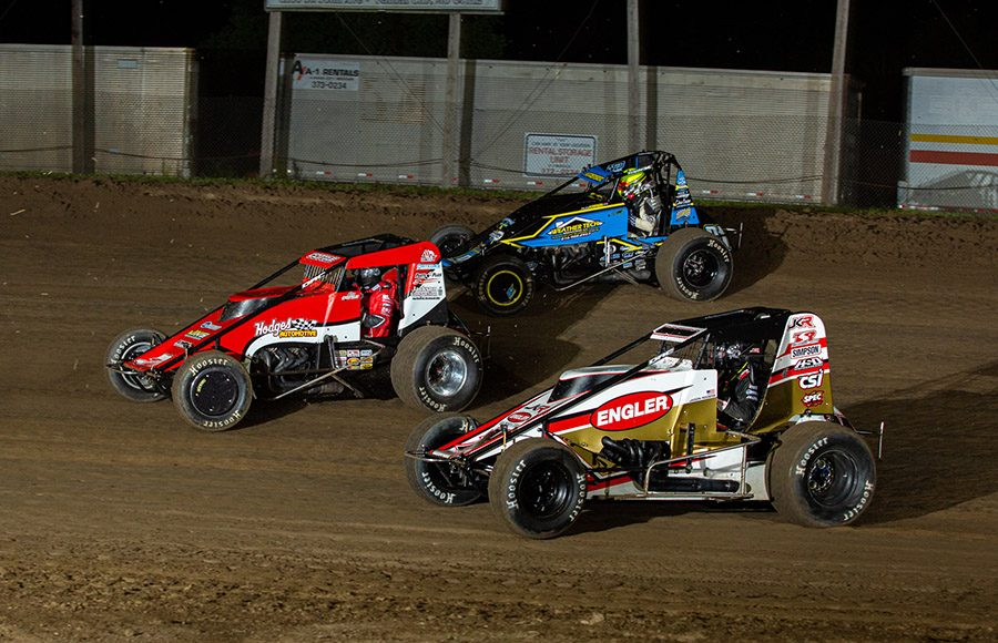 Shane Cottle (74x) leads Jadon Rodgers (14) and Riley Kreisel during Saturday's POWRi Lucas Oil WAR Sprint League event at Valley Speedway. (Russell Moore Photo)
