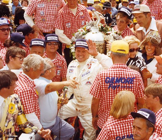 A.J. Foyt in victory lane at Indianapolis Motor Speedway in 1977 following his fourth Indianapolis 500 victory. (IMS Photo)
