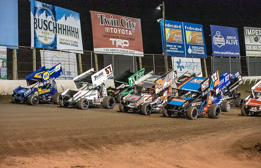 The field for Saturday's World of Outlaws NOS Energy Drink Sprint Car Series event prepares to go racing at Federated Auto Parts Raceway at I-55. (Brad Plant Photo)