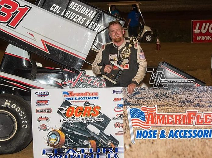 Casey Wills in victory lane at Nevada Speedway. (Tim Aylwin Photo)