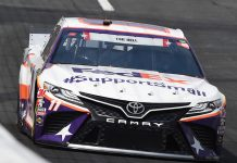 Denny Hamlin's crew chief, car chief and engineer have all been suspended for four races after a piece of ballast weight fell from his race car prior to Sunday's Coca-Cola 600. (Jared C. Tilton/Getty Images Photo)