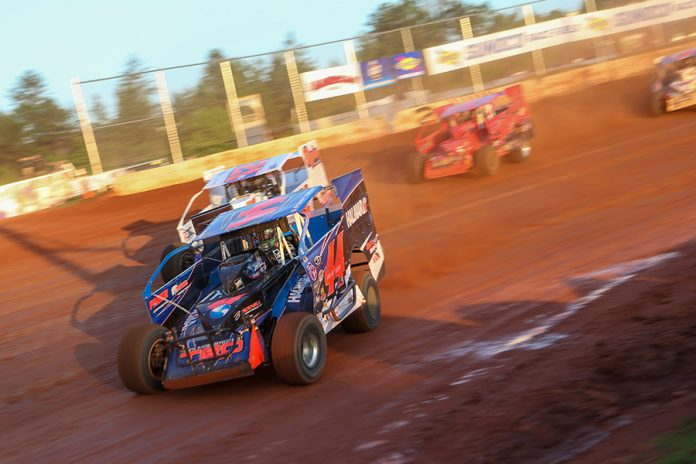 Stewart Friesen (44) leads a group of cars during preliminary action as part of Saturday's Short Track Super Series event at Cherokee Speedway. (Adam Fenwick Photo)