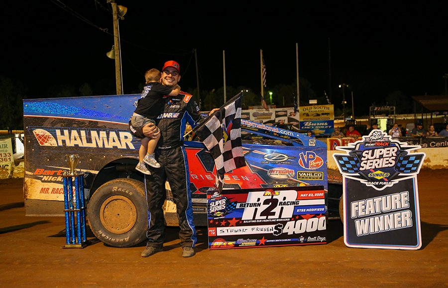 Stewart Friesen poses in victory lane after winning Saturday's Short Track Super Series event at Cherokee Speedway. (Adam Fenwick Photo)
