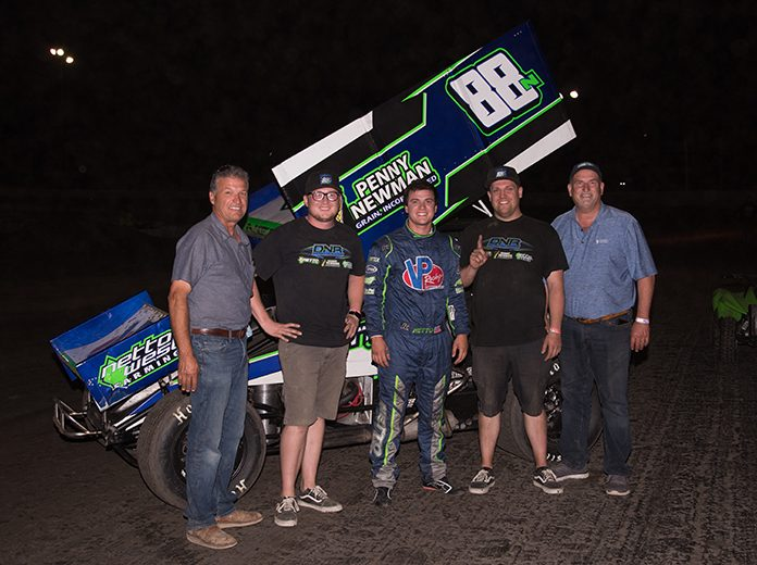 D.J. Netto after his win at Marysville Raceway on Monday. (Devin Mayo Photo)