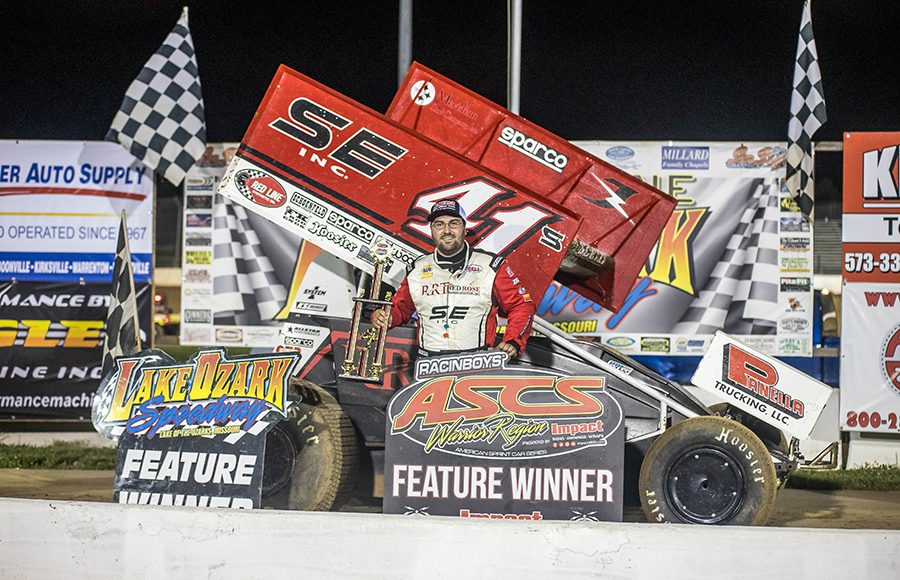 Dominic Scelzi in victory lane after winning Sunday's ASCS Warrior Region feature at Lake Ozark Speedway. (Brad Plant Photo)