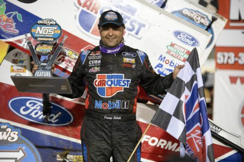 Donny Schatz in victory lane at Lake Ozark Speedway. (Brad Plant photo)