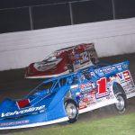 Brandon Sheppard (1) races under Bobby Pierce at Davenport Speedway. (Brendan Bauman photo)