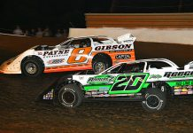 David Payne (8) races around the outside of Jimmy Owens during Saturday's Schaeffer's Oil Iron-Man Late Model Series event at Tazewell Speedway. (Michael Moats Photo)