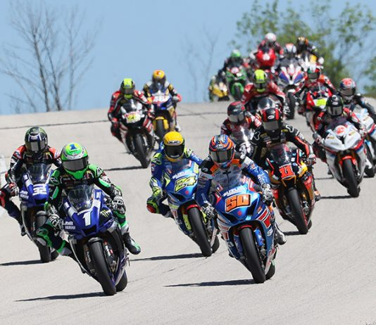 Cameron Beaubier (1) leads the MotoAmerica Superbike field on Sunday at Road America. (Brian J. Nelson Photo)
