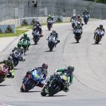 Richie Escalante (54) leads Sean Dylan Kelly (40), Brandon Paasch (21) and the rest of the Supersport pack at Road America on Sunday. (Brian J. Nelson Photo)