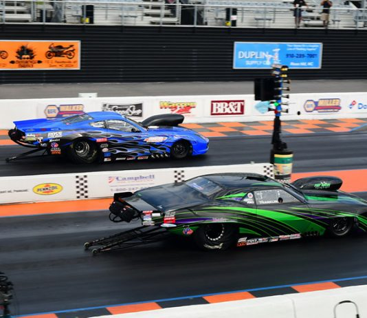 Tommy Franklin (near lane) outran Jim Widener in the PDRA Pro Nitrous final on Sunday at GALOT Motorsports Park. (Roger Richards Photo)