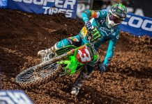 Eli Tomac won in the return of the Monster Energy AMA Supercross series after an 85-day break caused by COVID-19. (Feld Entertainment Photo)