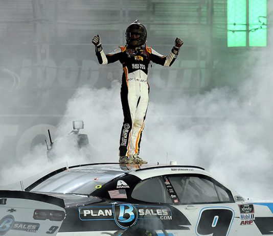 Noah Gragson celebrates after winning Monday's NASCAR Xfinity Series race at Bristol Motor Speedway. (Jared C. Tilton/Getty Images Photo)
