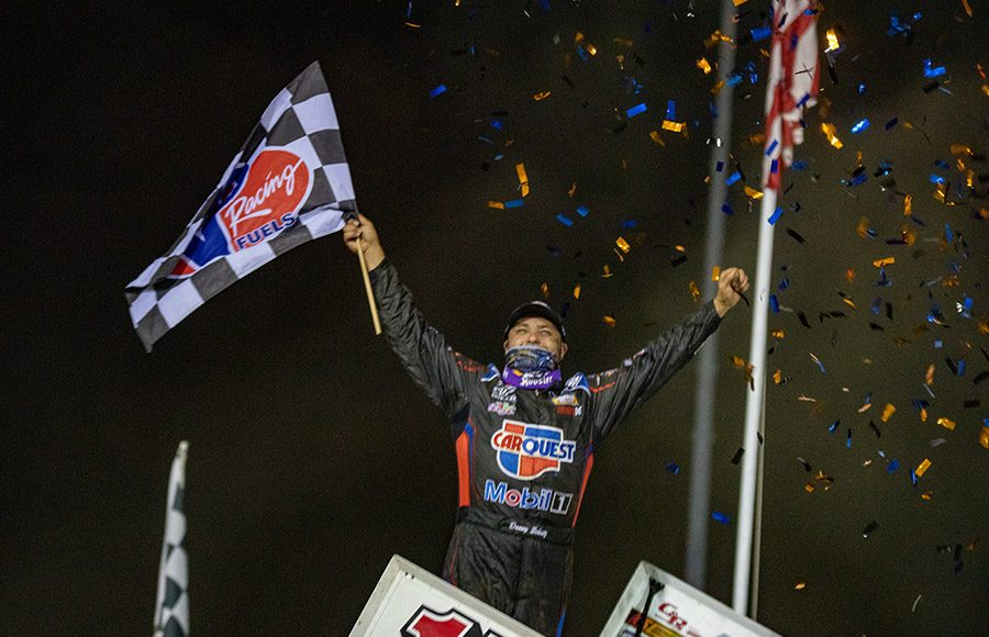 Donny Schatz celebrates after winning Saturday's World of Outlaws NOS Energy Drink Sprint Car Series feature at Lake Ozark Speedway.(Brad Plant Photo)