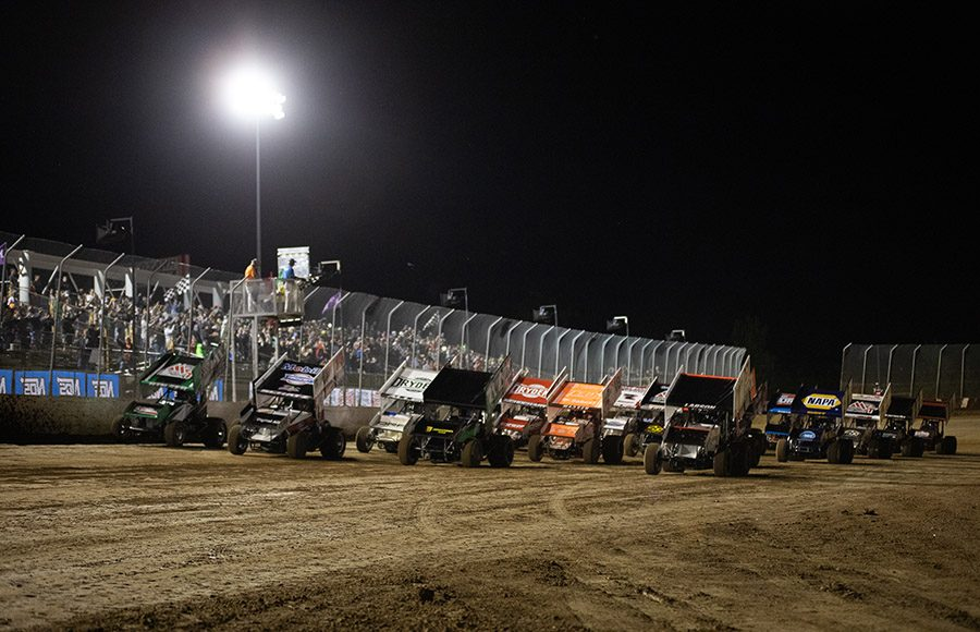 The field for Saturday's World of Outlaws NOS Energy Drink Sprint Car Series event prepares to go racing at Lake Ozark Speedway. (Brad Plant Photo)