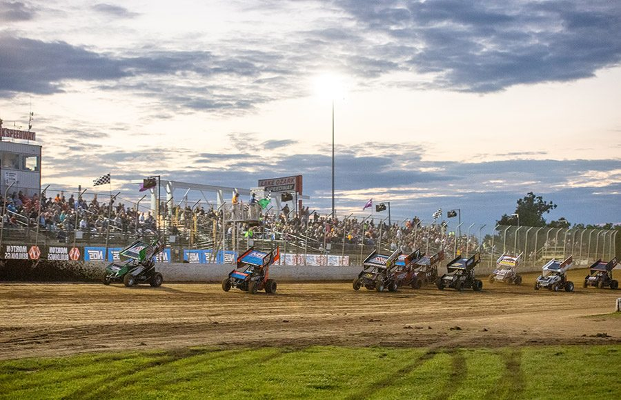 Fans filled the stands for Saturday's World of Outlaws NOS Energy Drink Sprint Car Series event at Lake Ozark Speedway. (Brad Plant Photo)
