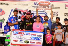Ryan Gustin in victory lane on Thursday at 81 Speedway in Park City, Kan. (Todd Boyd Photo)