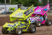 Darryl Ruggles (48jr) and Alysha Bay (48A) on track at Land of Legends Raceway. (Don Romeo Photo)