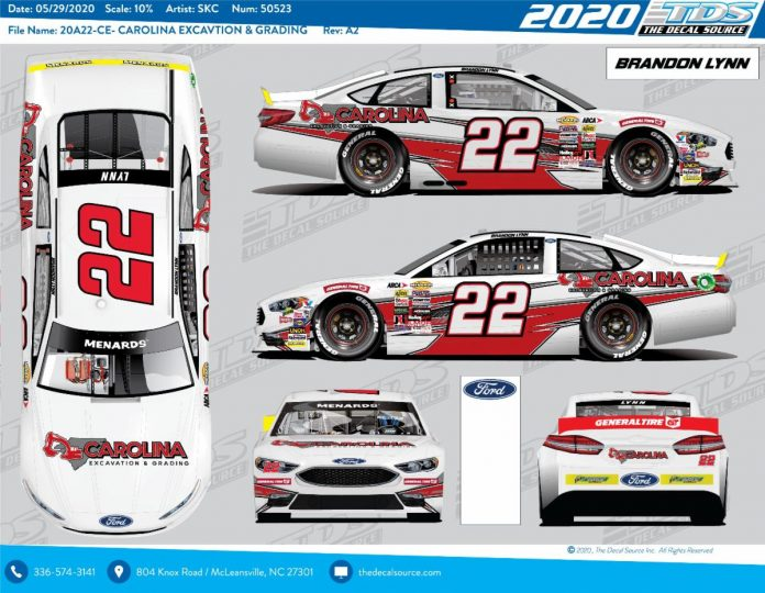 Brandon Lynn will drive for Chad Bryant Racing during the upcoming ARCA Menards Series race at Talladega Superspeedway.