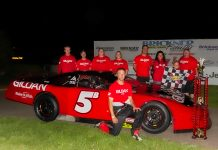 John Beale in victory lane on Thursday at State Park Speedway. (TJ Harron Photo)