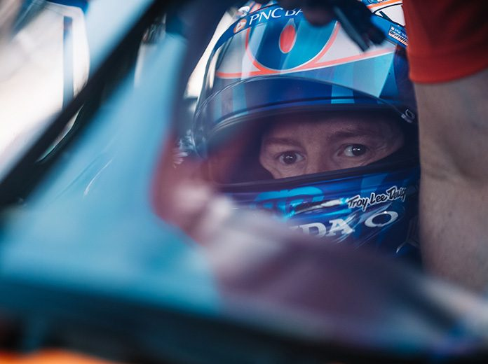 Scott Dixon, shown here in 2019, paced Saturday's lone NTT IndyCar Series practice at Texas Motor Speedway. (IndyCar Photo)