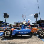 Scott Dixon looks over his race car during NTT IndyCar Series practice on Saturday at Texas Motor Speedway. (IndyCar Photo)