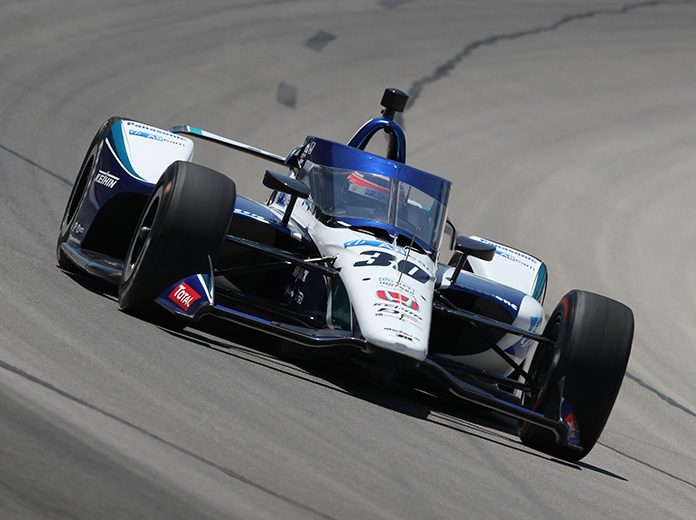Takuma Sato crashed during qualifying for Saturday's NTT IndyCar Series event at Texas Motor Speedway. (IndyCar Photo)
