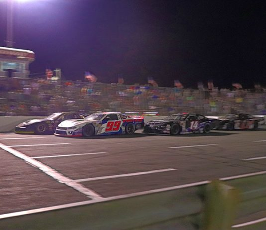 Ryan Millington (15) edged Layne Riggs (99) in a photo finish to win Saturday's CARS Late Model Stock Tour opener at Ace Speedway. (CARS Tour Photo)