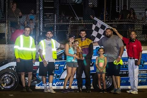 Gunner Martin and crew celebrate their A-Mod Victory at Central Missouri Speedway. (Joshua Allee Photo)