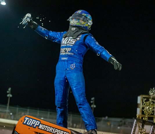 Justin Grant celebrates after winning Sunday's USAC AMSOIL National Sprint Car Series event at Federated Auto Parts Raceway at I-55. (Brad Plant Photo)