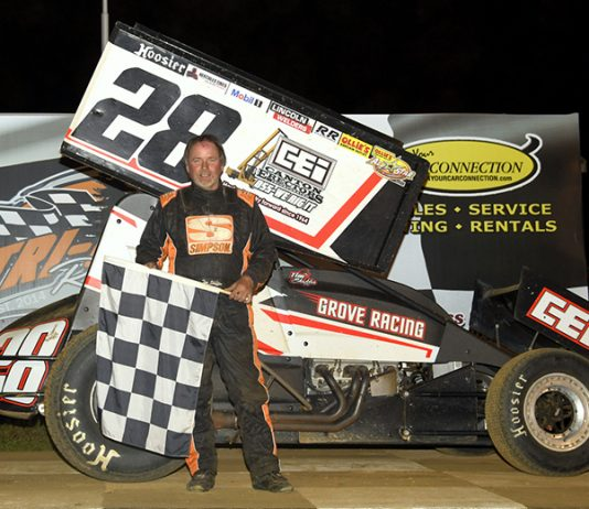 Tim Shaffer in victory lane Sunday at Tri-City Raceway Park. (Hein Brothers Photo)