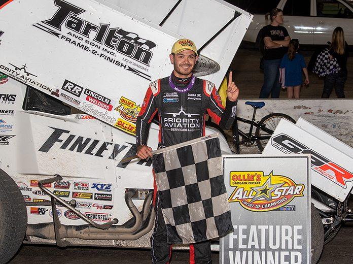 Kyle Larson in victory lane Wednesday at Devil's Bowl Speedway. (Tim Aylwin Photo)