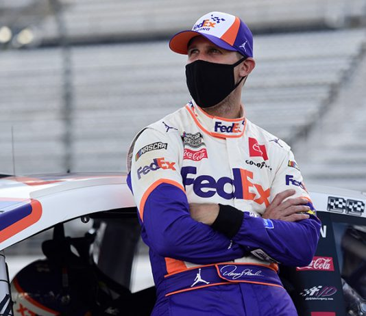 Denny Hamlin will start from the pole during Sunday's Dixie Vodka 400 at Homestead-Miami Speedway. (Jared C. Tilton/Getty Images Photo)