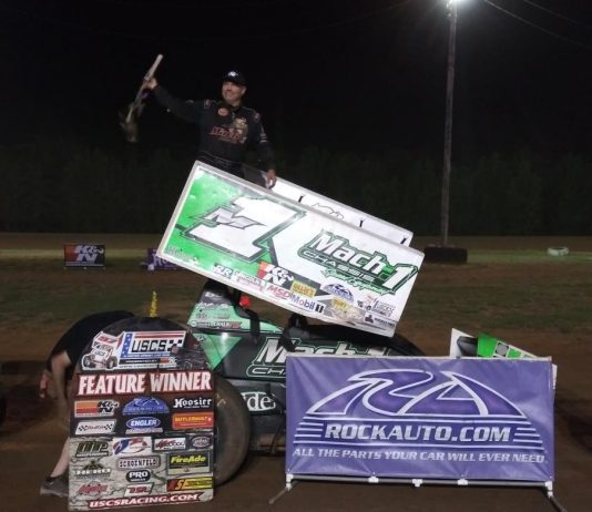 Mark Smith in victory lane at North Alabama Speedway. (USCS photo)