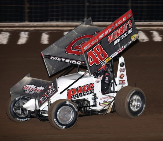 Danny Dietrich won Friday's All Star feature at Monarch Motor Speedway. (Jeff Peck photo)