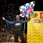 Corey Heim celebrates after winning Saturday's CARS Late Model Stock Tour feature at Hickory Motor Speedway. (Adam Fenwick Photo)