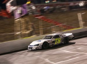 Corey Heim crosses the finish line to win Saturday's CARS Late Model Stock Tour feature at Hickory Motor Speedway. (Adam Fenwick Photo)