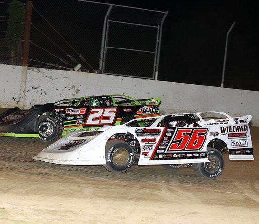 Tony Jackson Jr. (56) battles Chad Simpson during Friday's Lucas Oil MLRA feature at Randolph County Raceway. (Mike Ruefer Photo)