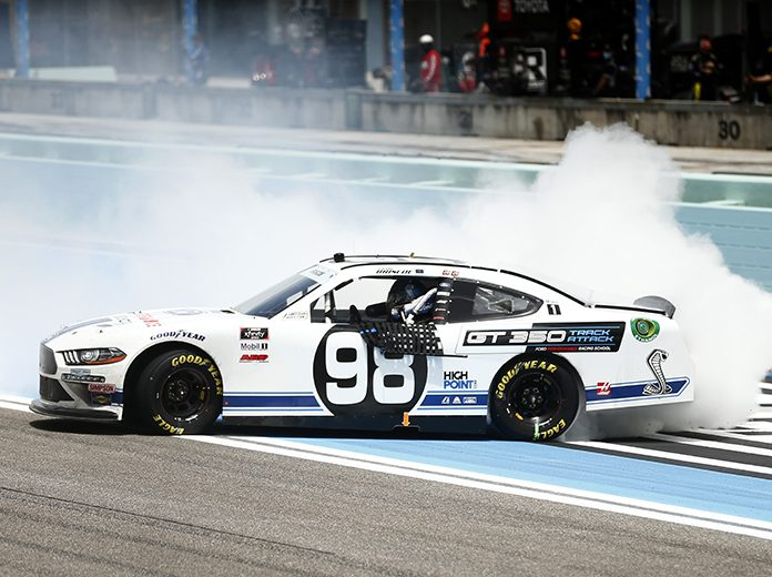 Chase Briscoe celebrates with a burnout after winning Sunday's NASCAR Xfinity Series race at Homestead-Miami Speedway. (Michael Reaves/Getty Images Photo)