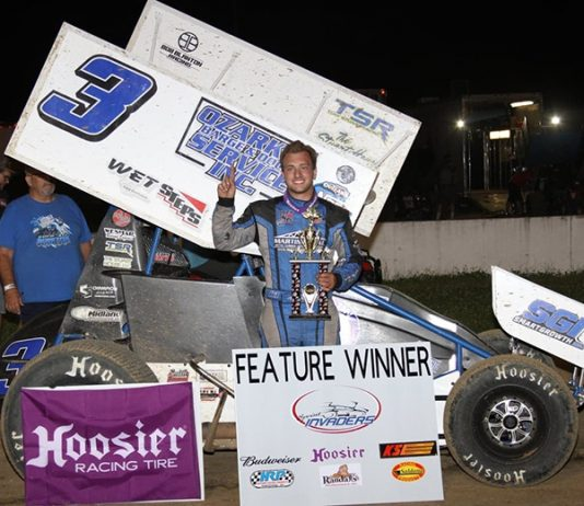 Ayrton Gennetten claimed his first Sprint Invaders win at Randolph County Raceway Sunday night. (MF Photography)