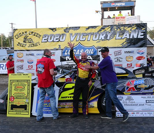 Billy Moyer poses in victory lane after winning Sunday's Lucas Oil MLRA feature at West Liberty Raceway. (Mike Ruefer Photo)