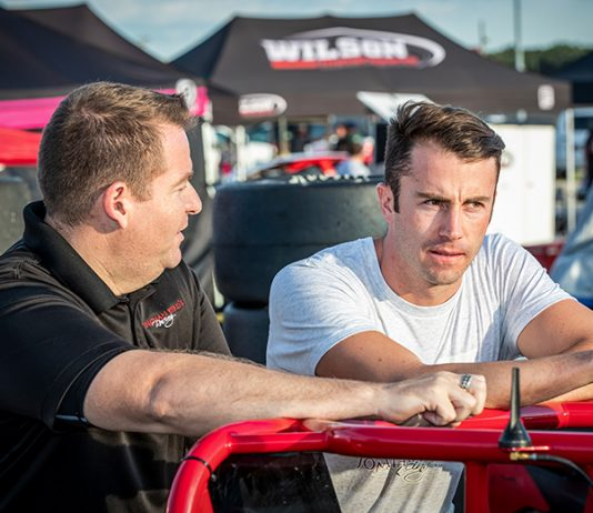 James Davison (right), shown here with with David Byrd of Byrd Racing, will make his NASCAR Cup Series debut during the GEICO 500 at Talladega Superspeedway this weekend. (Eli Kaikko Photo)