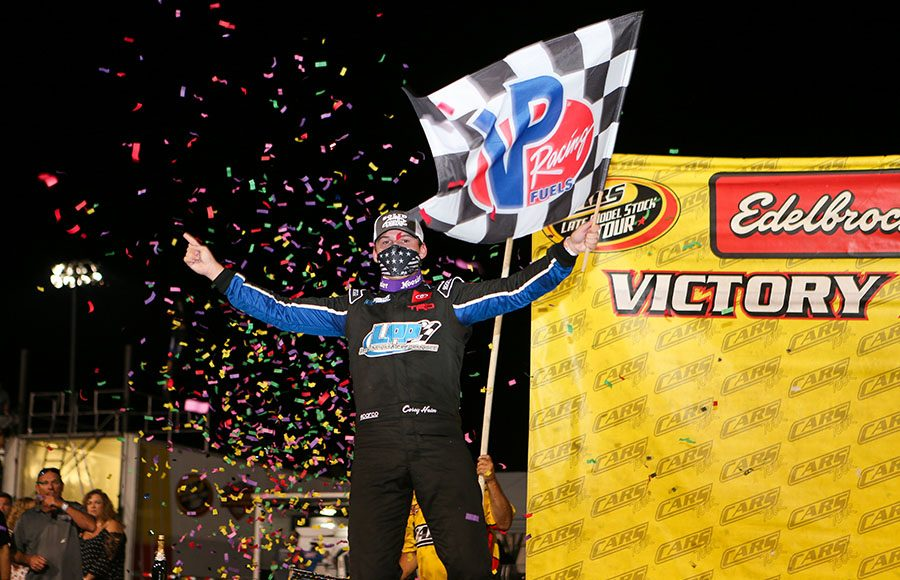 Corey Heim celebrates after winning the late model stock portion of Saturday's CARS Tour event at Hickory Motor Speedway. (Adam Fenwick Photo)