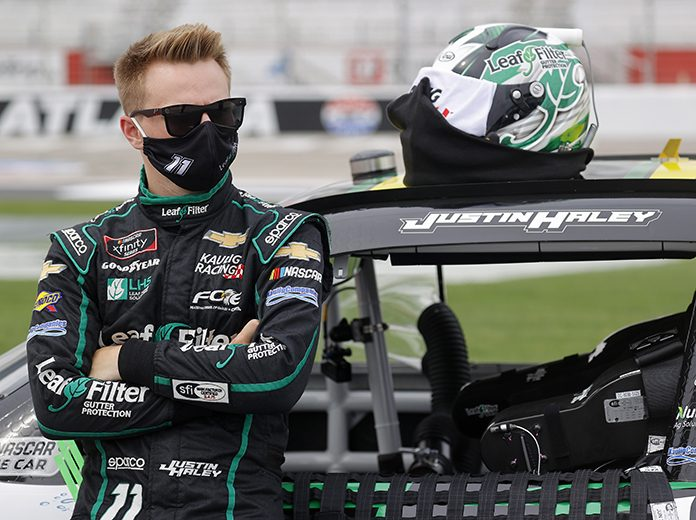 Justin Haley will start Saturday's NASCAR Xfinity Series race from the pole at Talladega Superspeedway. (Chris Graythen/Getty Images Photo)
