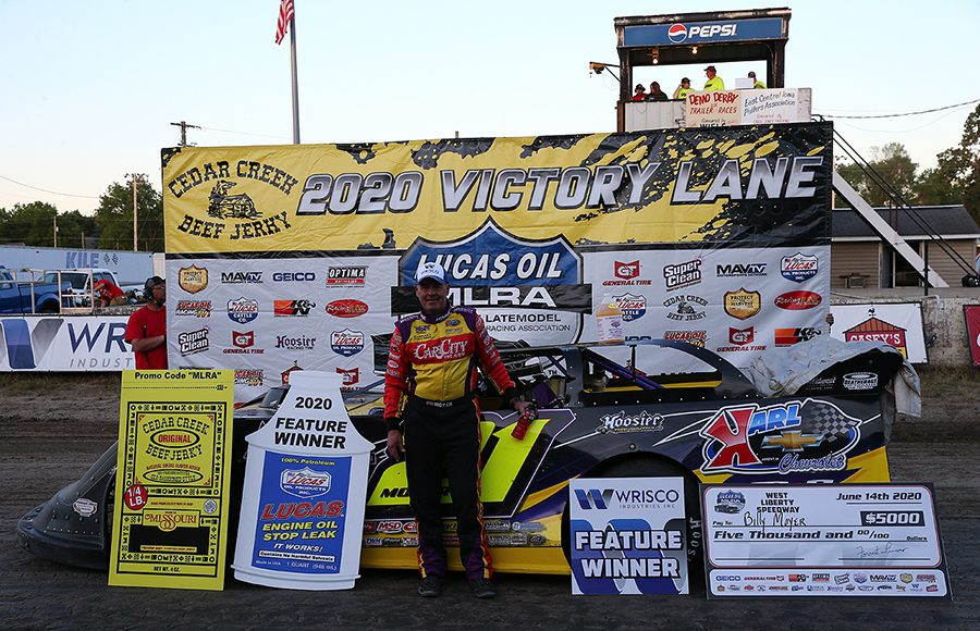 Billy Moyer in victory lane after his victory Sunday at West Liberty Raceway. (Mike Ruefer Photo)